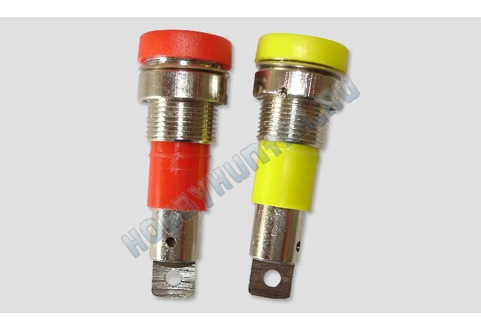 Разъем D4.0mm gold Nickel plated Binding post 1шт (Red or Yellow)